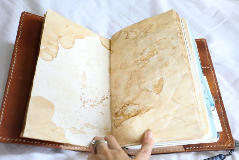 how to make your own coffee stained journal