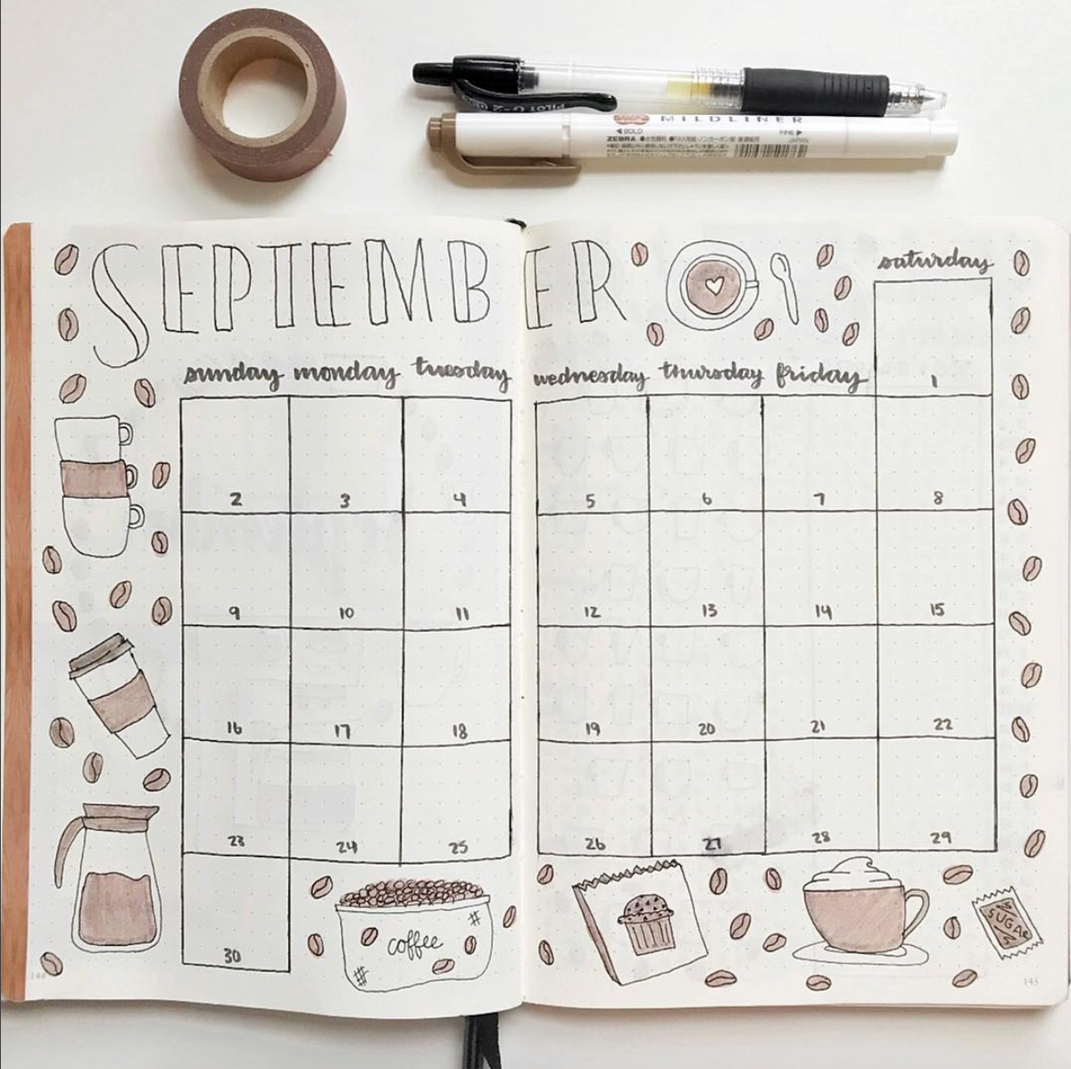 fall bullet journal spread
