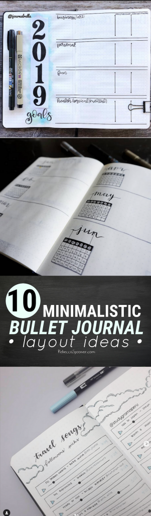 10 Minimalistic Bullet Journal Layout Ideas to Try in your planner the next time you are feeling uninspired. These are simple layouts that are great for beginner bullet journal enthusiasts. Check out the full list and follow some new accounts for planning inspiration this week.